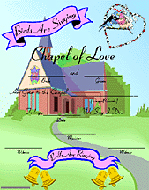 decorative marriage license - a chapel of love theme